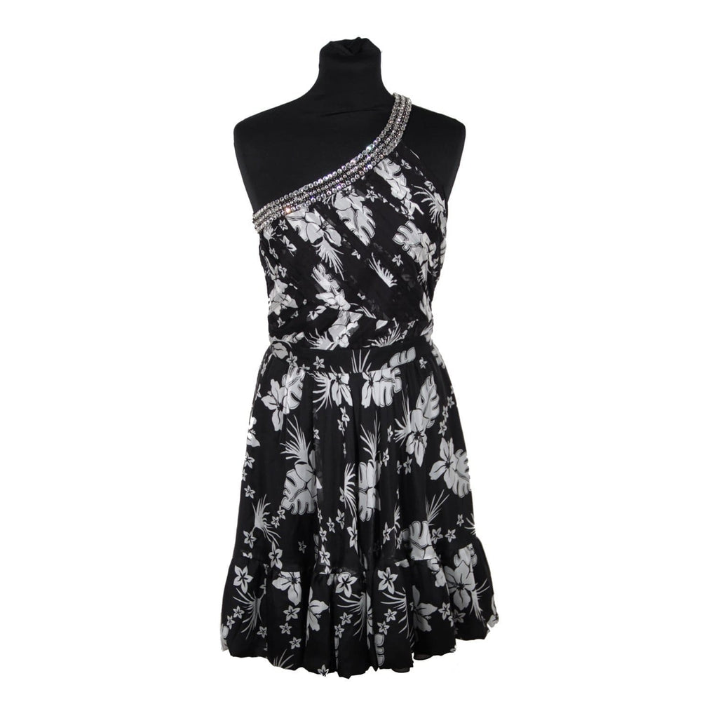 Blugirl Blumarine Black & White Silk One Shoulder Dress Sz 40 Opherty & Ciocci