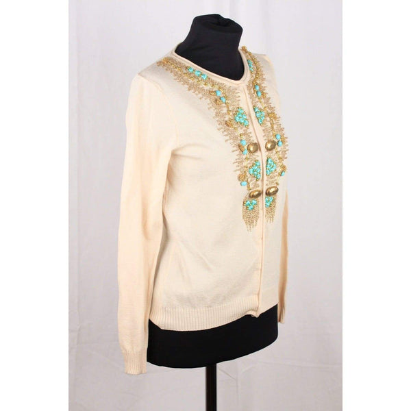 Blumarine Ivory Silk Knit Embroidered Cardigan Size S Opherty & Ciocci