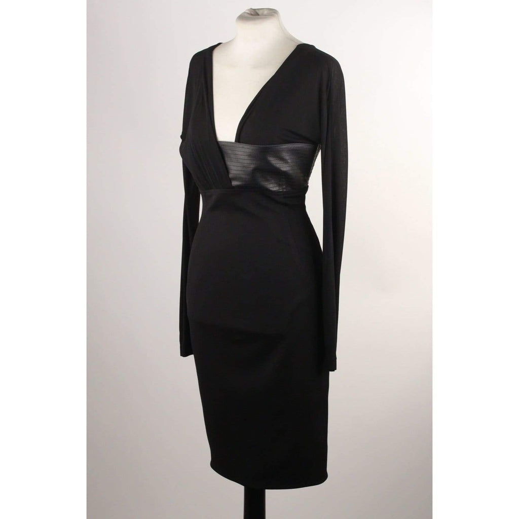 Long Sleeve Dress With Leather Trim Opherty & Ciocci