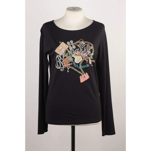 Long Sleeve Embroidered Top With Crystals Size 44 Opherty & Ciocci