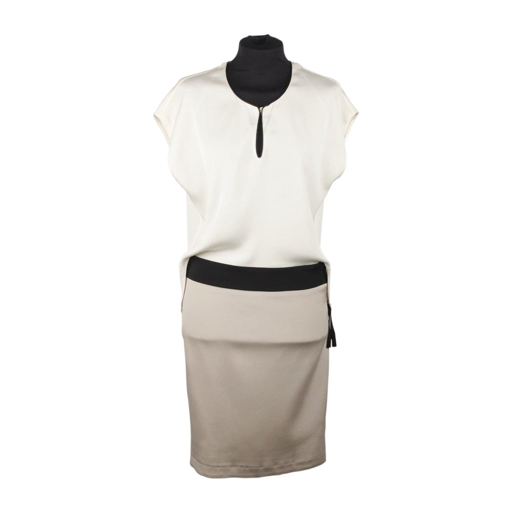 Blumarine Silky White Gray Color Block Sheath Dress Size 38 Opherty & Ciocci