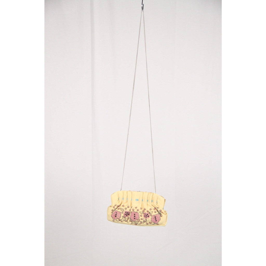 Blumarine Yellow Hand Embroidred Fabric Evening Bag Opherty & Ciocci