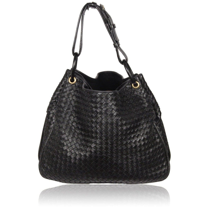 Bottega Veneta Black Intrecciato Woven Leather Tote Duette Bag Opherty & Ciocci