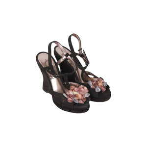 Bottega Veneta Black Suede Wedges Sandals W/ Flower Applique Size 36.5 Opherty & Ciocci