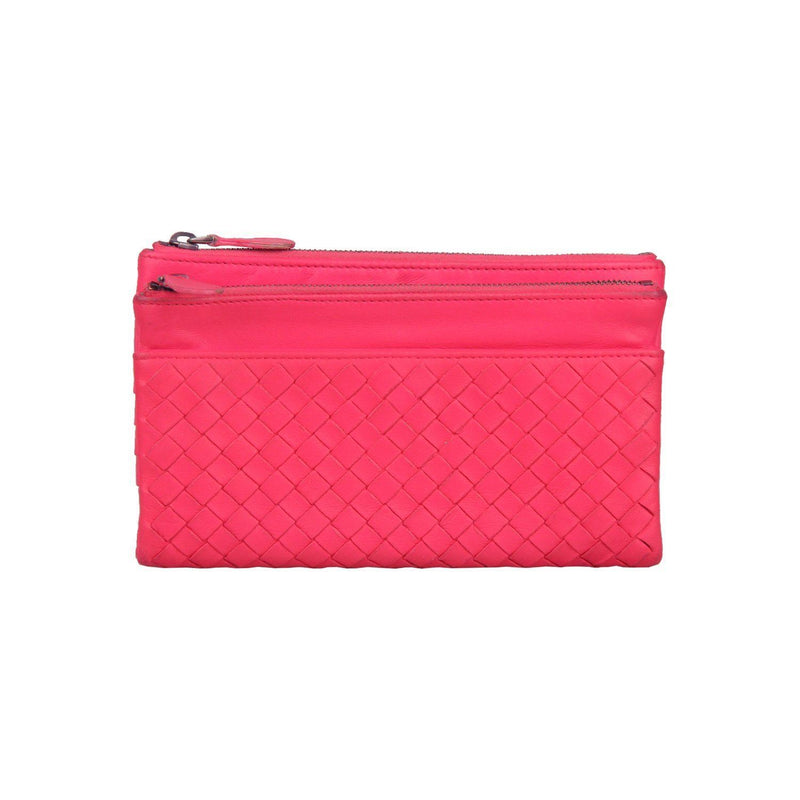 Bottega Veneta Fuchsia Woven Intrecciato Leather Fold Over Wallet Opherty & Ciocci