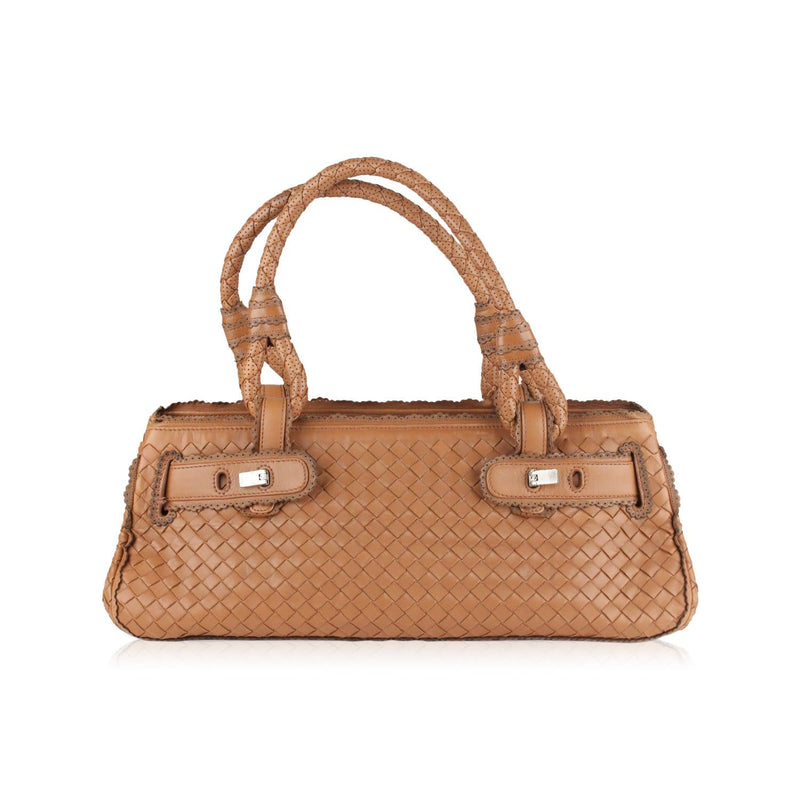 Intrecciato Woven Leather Bag With Scalloped Trim Opherty & Ciocci