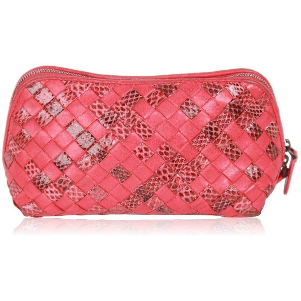 Bottega Veneta Red Woven Intrecciato Leather & Snakeskin Zip Pouch Opherty & Ciocci