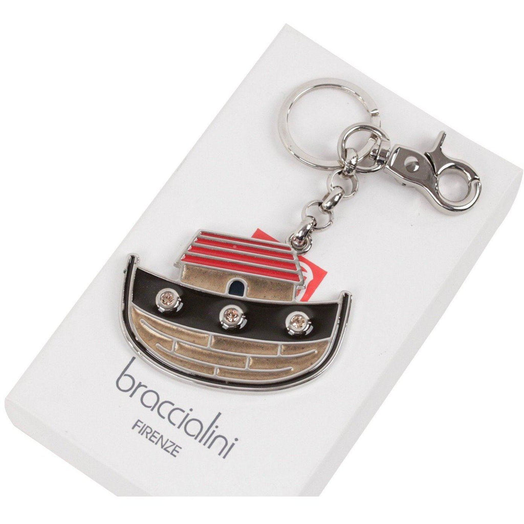 Braccialini Silver Metal Enameled Key Ring Boat Ship W/ Box Opherty & Ciocci