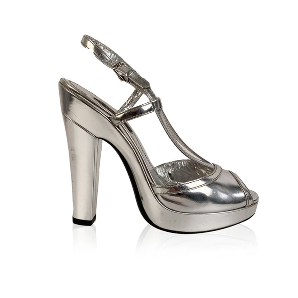 Burberry Silver Leather Platform Heels Shoes Size 38