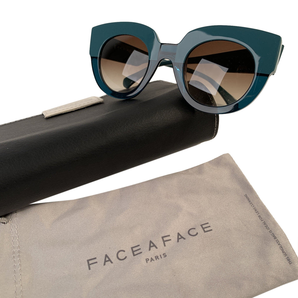 Face a Face Bicolor Sunglasses Masai 1 Duck Blue and Green with Case