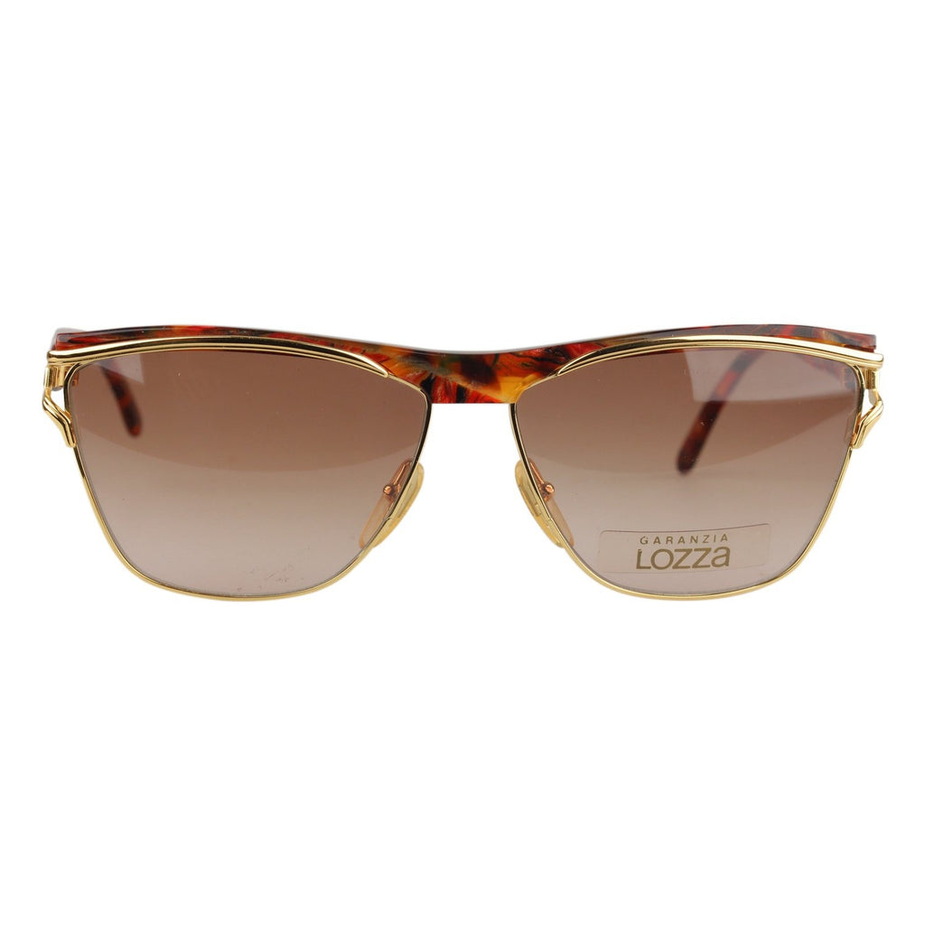 Lozza VIntage Unisex Brown and Gold Sunglasses Mod. Letizia 135mm Wide