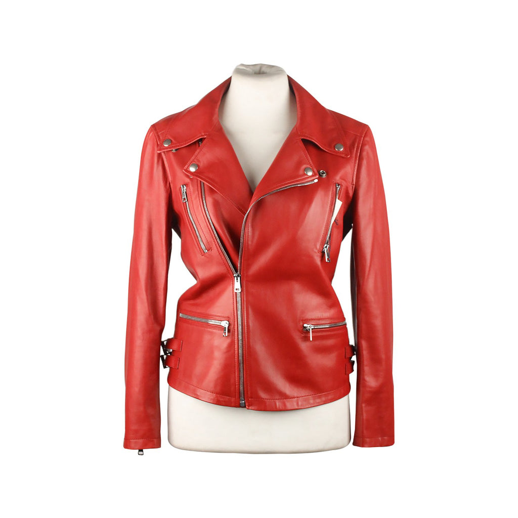 Gucci Red Leather Women Biker Jacket Size 38