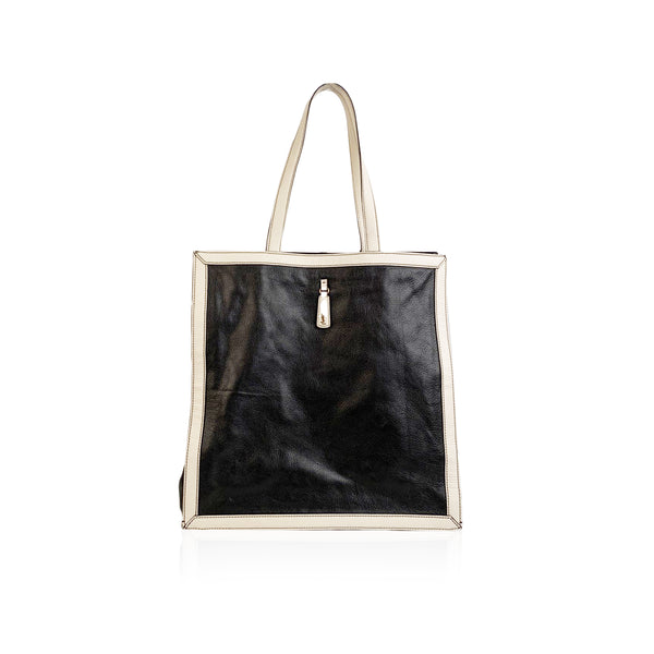 Yves Saint Laurent Black and White Leather Walky Shopping Bag