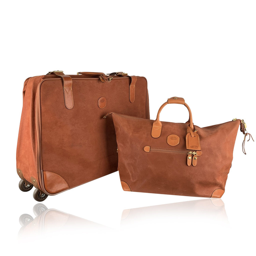 Bric's Tan Leather Travel Set Suitcase and Holdall Bag - OPHERTY & CIOCCI