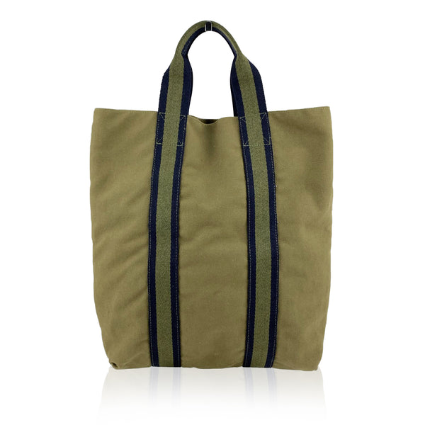 Hermes Paris Vintage Green Blue Fourre Tout Vertical Shopping Bag Tote