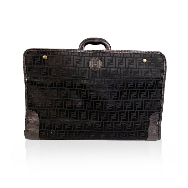 Fendi Vintage Black Monogram Canvas Travel Foldable Suitcase