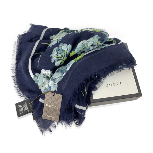 Gucci Navy Blue Modal and Silk Floral Bloom Print Square Scarf 140