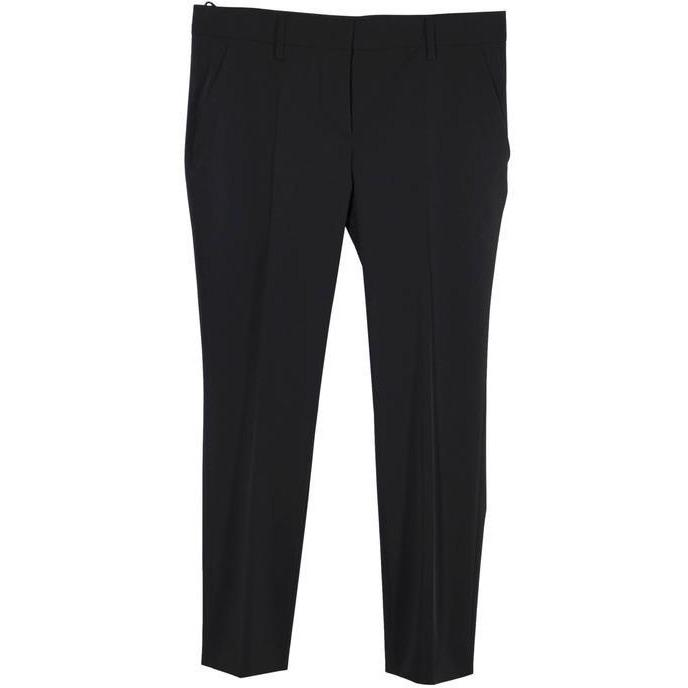 Prada Black Poly Techno Fabric Tailored Trousers Pants Size 44
