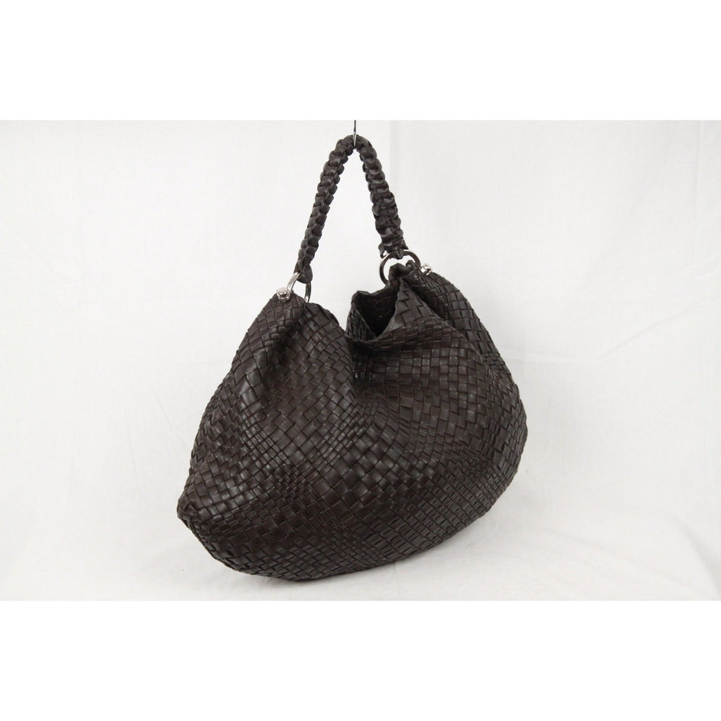 FALORNI Dark Brown WOVEN Leather TOTE Bag