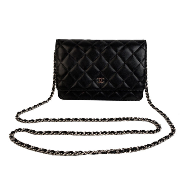 Chanel Black Calfskin Leather Wallet on Chain Woc Crossbody Bag