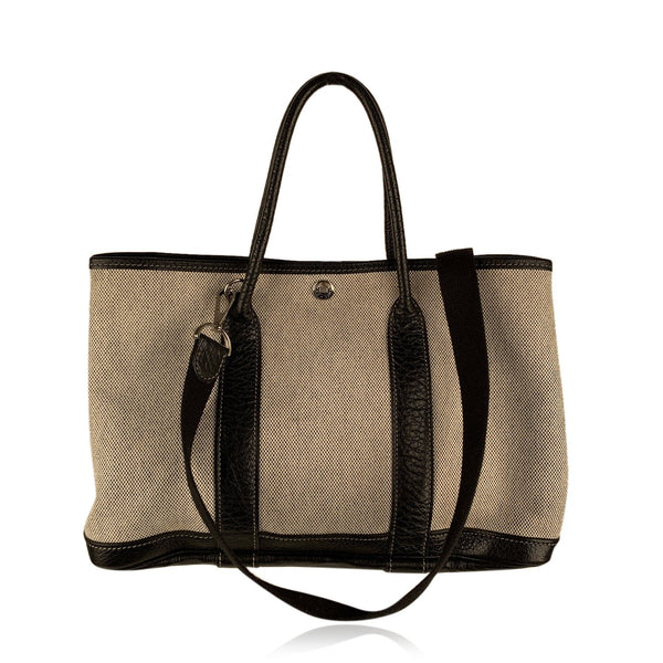 Hermes Paris Beige and Black Canvas Garden Party 30 Tote Bag