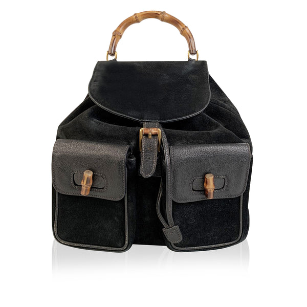 Gucci Vintage Black Leather Suede Bamboo Backpack Bag