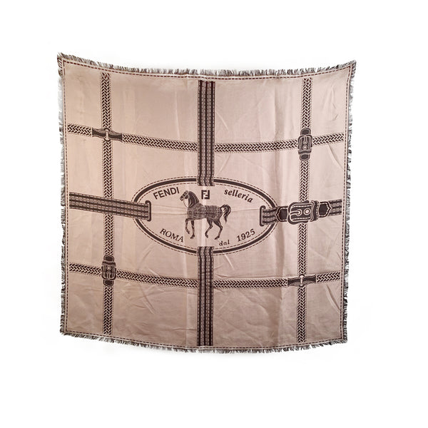 Fendi Selleria Taupe and Brown Silk Scarf Frayed Borders