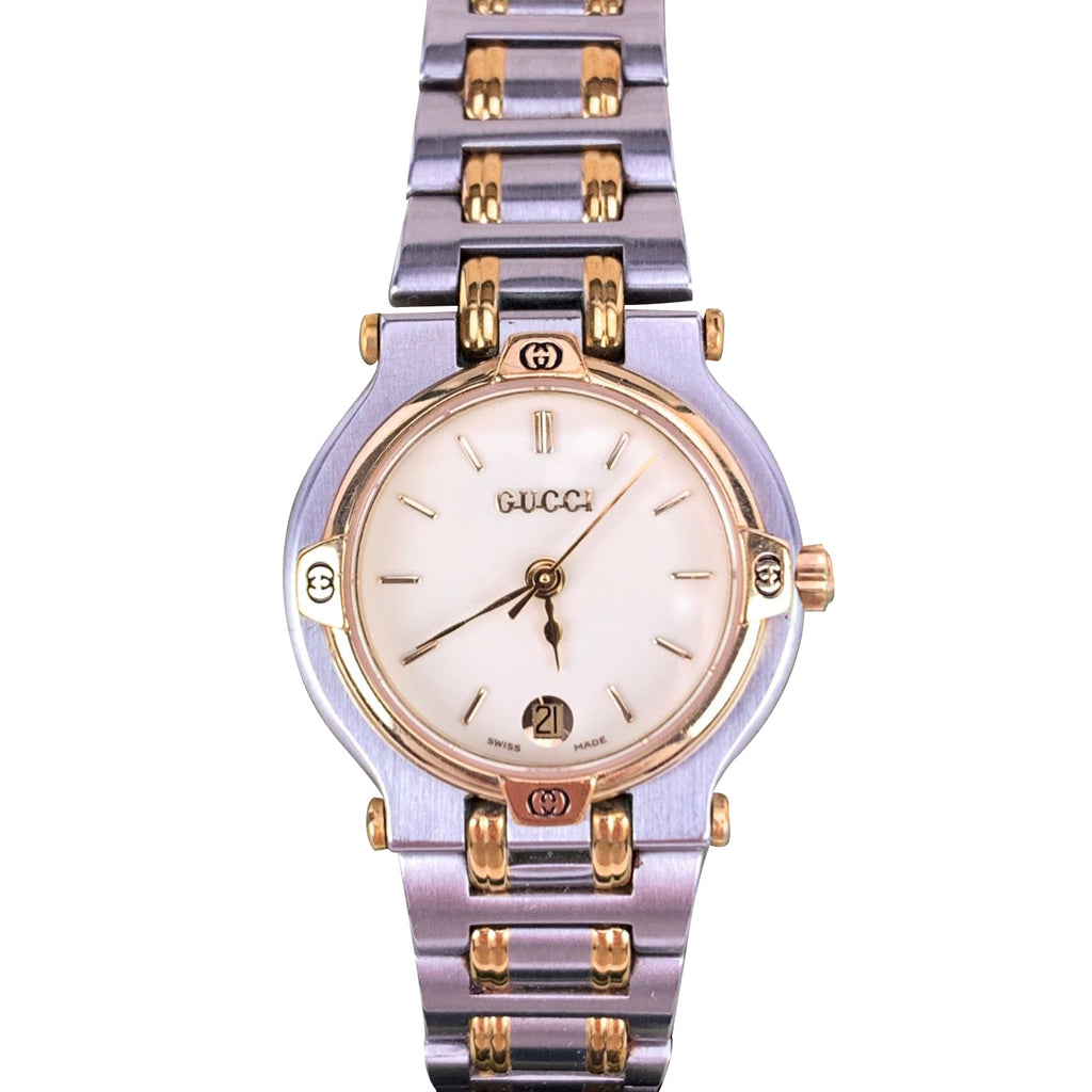 Gucci Vintage Stainless Steel Mod 9000 L Ladies Wrist Watch White Dial