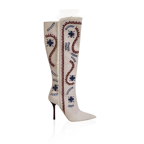 Le Silla White Pony Hair Embroidered Heeled Boots Size 38