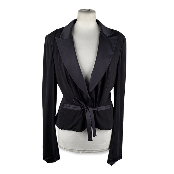 Gianfranco Ferre Black Blazer Jacket with Silk Trim Size 44