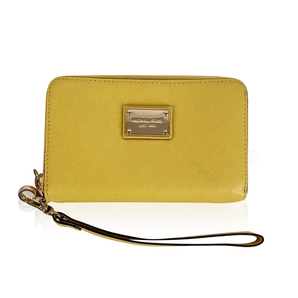 Michael Kors Saffiano Yellow Leather Zip Around Wallet