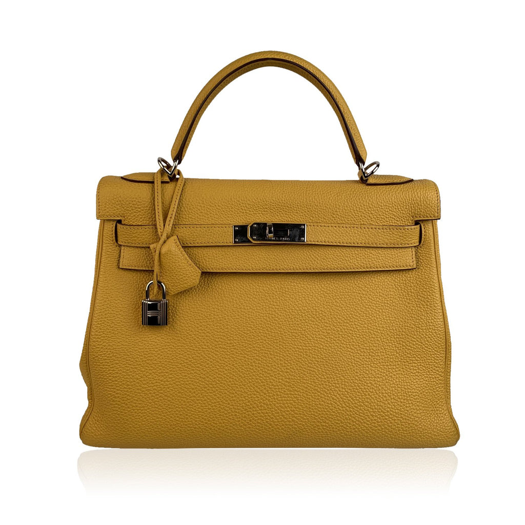 Hermes Yellow Leather Kelly 32 Retourne Top Handle Bag Satchel - OPHERTY & CIOCCI