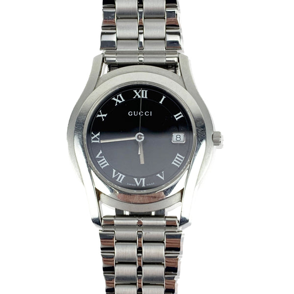 Gucci Silver Stainless Steel Mod 5500 M Wrist Watch Black Dial