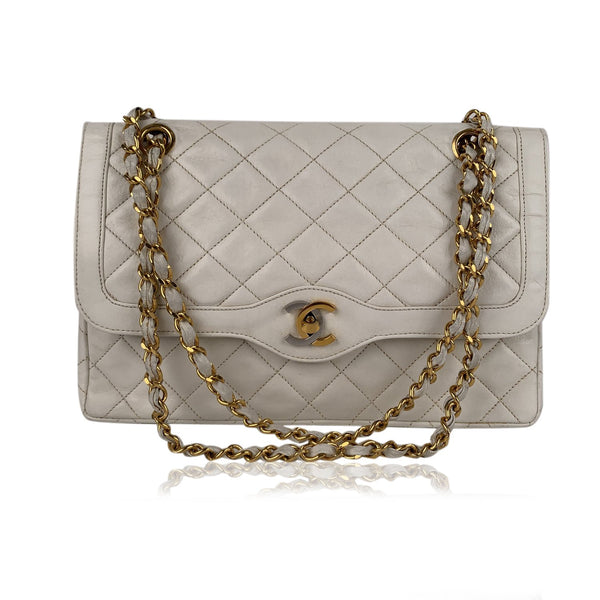 Chanel Vintage White Quilted Leather Limited Edition Double Flap Bag