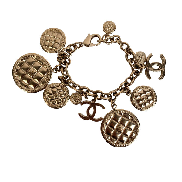Chanel Gold Metal CC Logo and Quilted Charm Bracelet