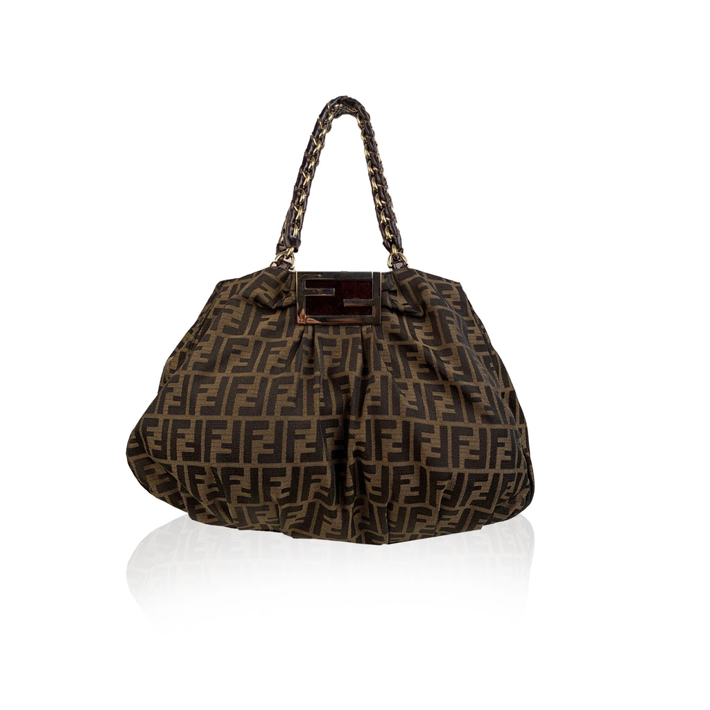 Fendi Zucca Monogram Canvas Mia Chain Tote Shoulder Bag