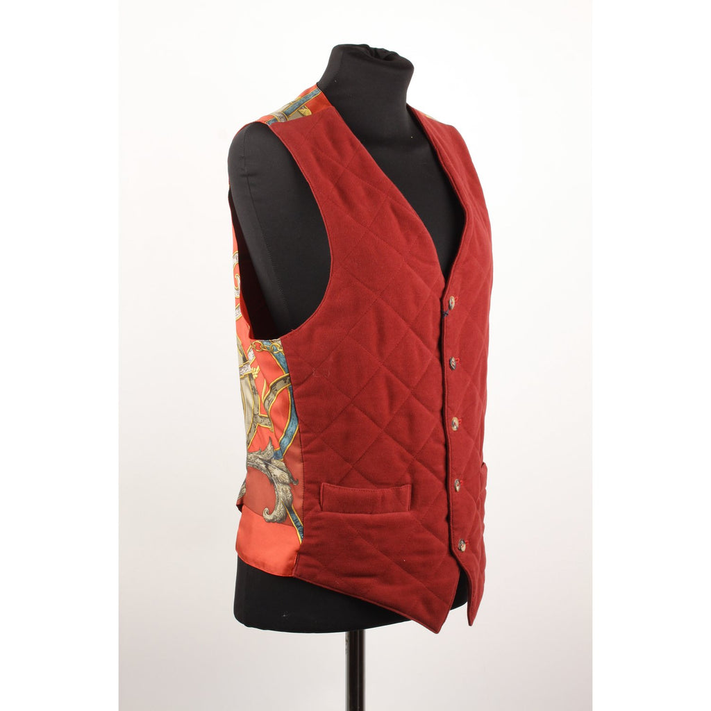 Hermes Vintage Equestrian Men Vest with Silk Panel Size 46
