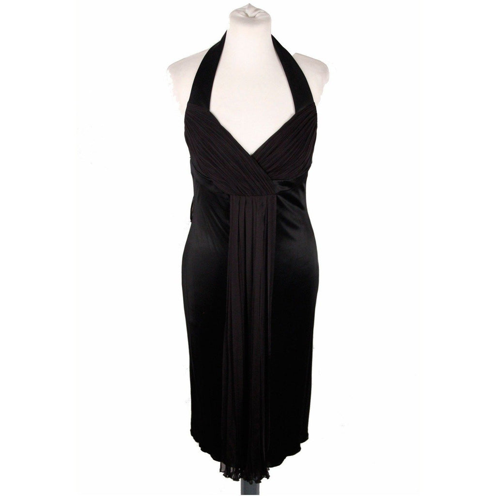 Versace Black Jersey Halterneck Sleeveless Cocktail Dress Size 42