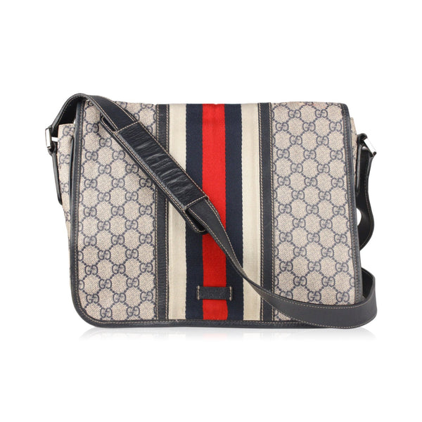 Gucci Blue Monogram Canvas Messenger Bag Crossbody with Stripes