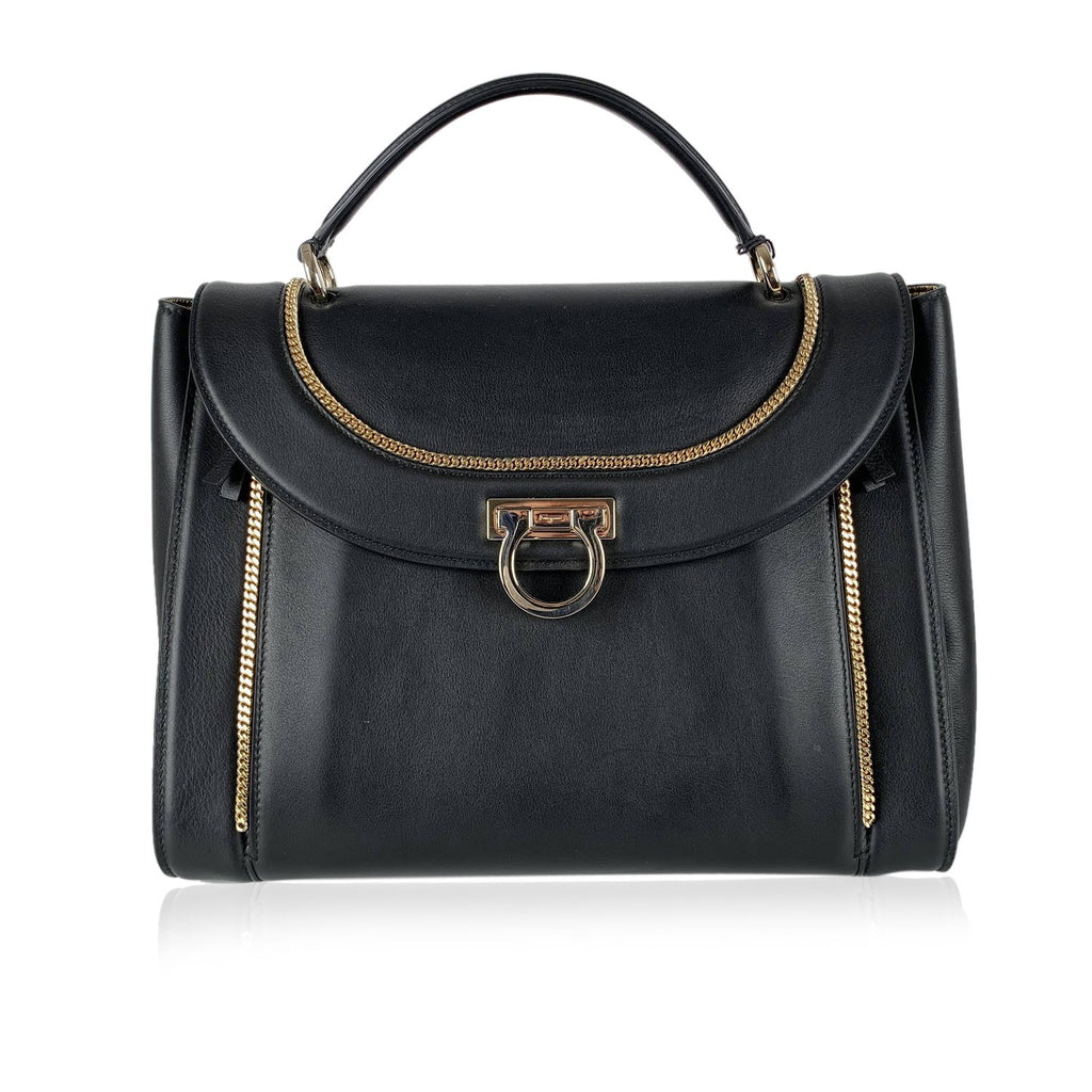 Salvatore Ferragamo Black Leather Sofia Satchel Bag Handbag