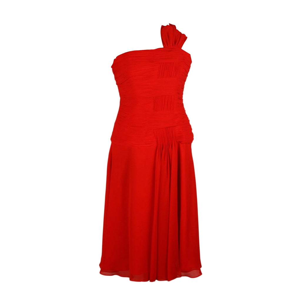 Carlo Pignatelli Red One Shoulder Midi Dress Size 42 IT