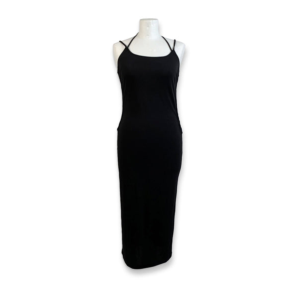 D&G Dolce & Gabbana Black Bodycon Dress with Crisscross Detail Size 44