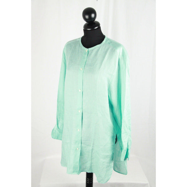 Cacharel Aqua Linen Collarless Shirt Size 36/4 Opherty & Ciocci