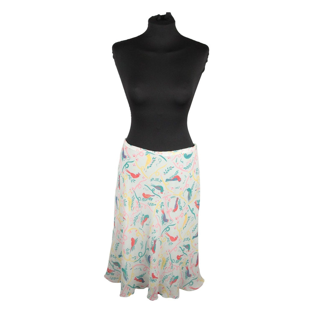 CACHAREL Aqua Silk SKIRT Bird Design SIZE 38