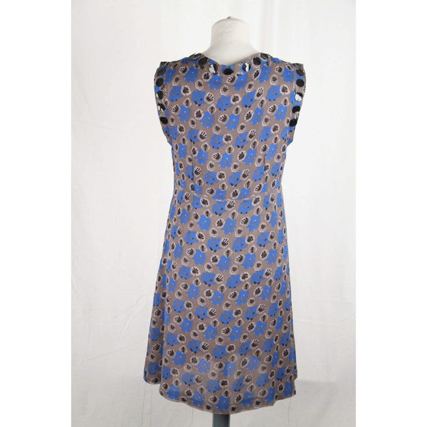 Cacharel Gray & Blue Silk Sleeveless Sheath Dress Size 38 Opherty & Ciocci