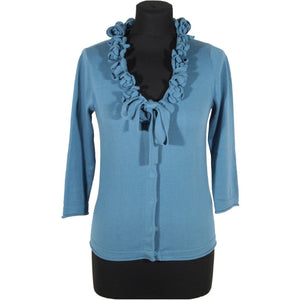 CACHAREL Light Blue Cotton CARDIGAN Sweater w/ FLOWERS Size S