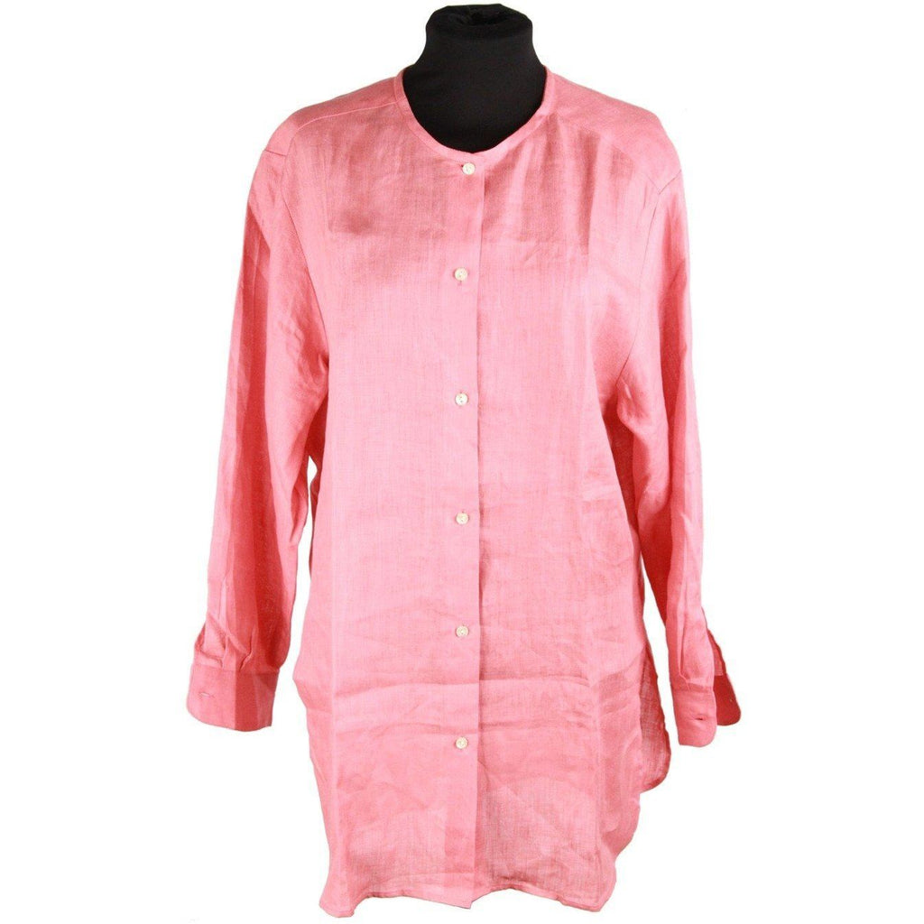 Cacharel Pink Linen Collarless Shirt Size 36/4 Opherty & Ciocci
