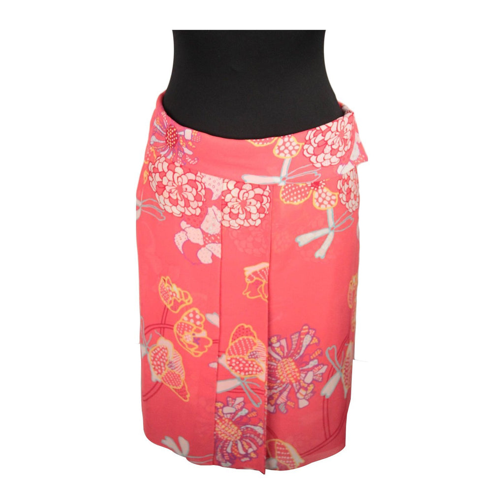CACHAREL Red Silky Floral Fabric  SKIRT Size 36/4