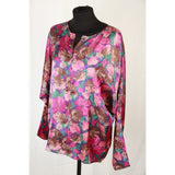 Cacharel Vintage Pink Floral Silky Fabric Long Sleeve Blouse Size 36/4 Opherty & Ciocci