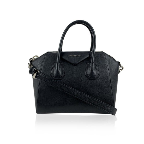 Givenchy Black Leather Antigona Bag Satchel Handbag with Strap